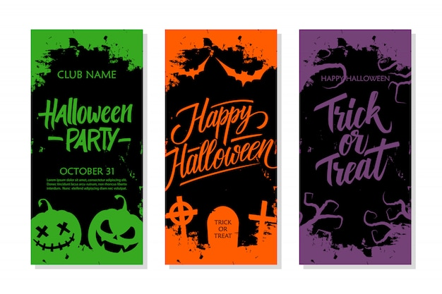 Fröhliches halloween-set. parteieinladung, grußkarte und feiertagsfliegerschablone mit handbeschriftung, traditionellen symbolen und bürstenanschlag.