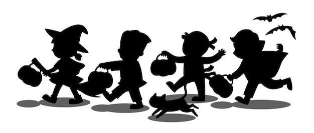 Fröhliches halloween. silhouette der kinder gekleidet in halloween kostüm, um süßes oder saures zu gehen. vorlage für werbebroschüre.