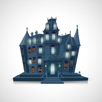 Fröhliches halloween. spukhaus auf weißem hintergrund
