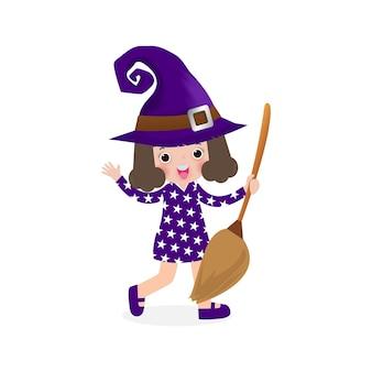 Fröhliches halloween. süße kleine hexe. mädchenkind im halloween-kostüm lokalisiert auf weißem hintergrund. kinderkostüm-partyillustration.