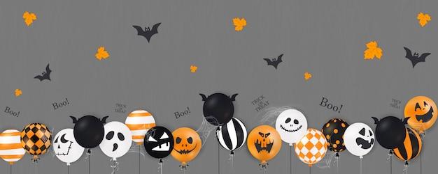 Fröhliches halloween. süßes oder saures. boo. gruselige luftballons. feiertagskonzept mit halloween-glitzer-konfetti-geisterballons lustige gesichter für fahne, website, plakat, grußkarte, partyeinladung.