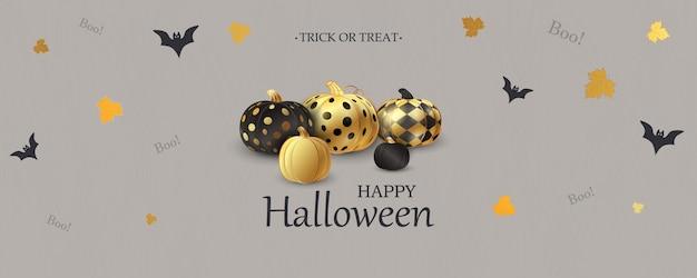 Fröhliches halloween. süßes oder saures. boo. gruselige luftballons. feiertagskonzept mit halloween-glitzer-konfetti-geisterballons lustige gesichter für website