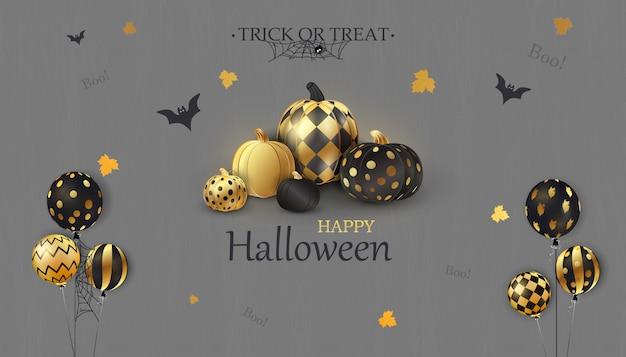 Fröhliches halloween. süßes oder saures. boo. urlaubskonzept mit lustigen gesichtern der glitzernden konfetti-geisterballons, gold, schwarze halloween-kürbisse für website
