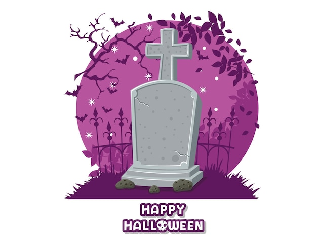 Fröhliches halloween. symbol mit dem bild von grabsteinen. grabstein-friedhofssymbol. grußkarte, partyeinladung. farbige hintergrundvektorillustration