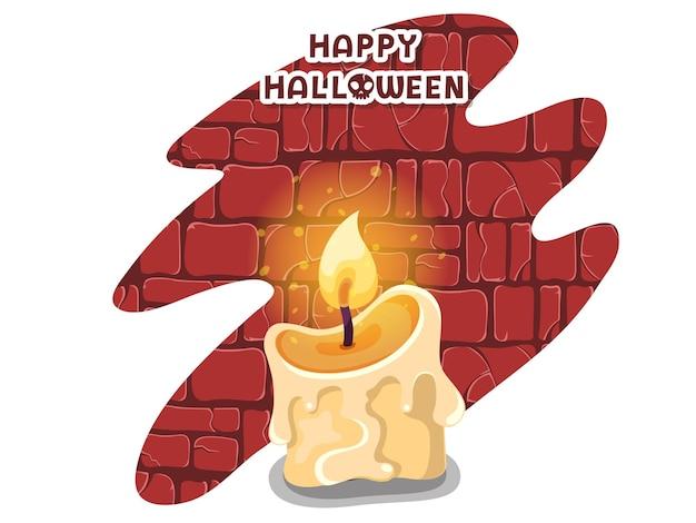 Fröhliches halloween. symbol mit den brennenden kerzen. kerzensymbol. grußkarte, partyeinladung. farbige hintergrundvektorillustration
