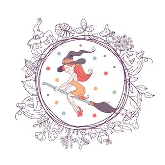 Fröhliches halloween. vektor-illustration. die einladung zur party. eine hexe mit hut, die auf einem besen fliegt. ein kranz aus gruseligen kürbissen, herbstkräutern, pilzen, beeren und blättern.