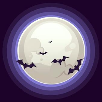 Fröhliches halloween vertikales bannerdesign mit großem weißen mond und flacher vektorillustration der fledermaus auf dunklem hintergrund.