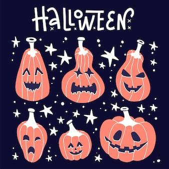 Fröhliches halloween. weißer handgeschriebener schriftzug mit grunge-orangenkürbis mit gekritzelsternen