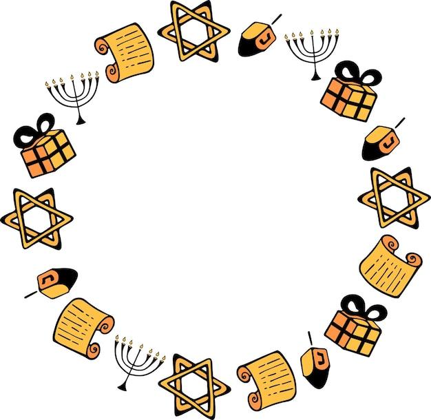 Fröhliches hanukkah. chanukka traditionelle attribute der menora, dreidel, torah im doodle-stil. runder rahmen.