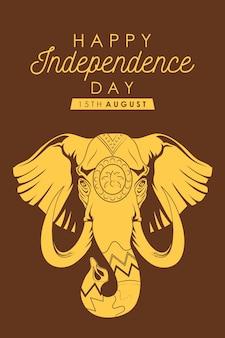 Fröhliches indien-unabhängigkeitstag-banner mit elefanten
