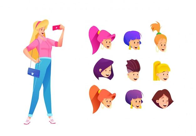 Fröhliches junges mädchen in jeans, rosa hemd, das selfie mit smartphone mit verschiedenen gesichtern macht.