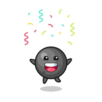 Fröhliches kanonenball-maskottchen springen für glückwünsche mit farbkonfetti, süßes design für t-shirt, aufkleber, logo-element