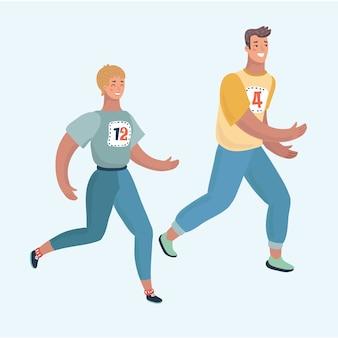 Fröhliches kaukasisches paar, das zusammen läuft. mann und frau sind läufer oder jogger. sie üben joggen.