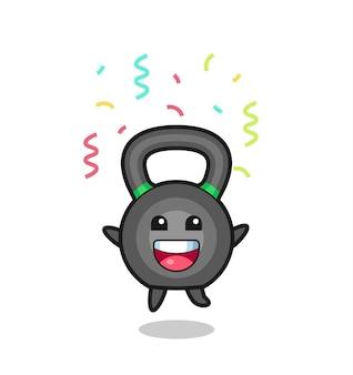Fröhliches kettleball-maskottchen springen für glückwünsche mit farbkonfetti, süßes design für t-shirt, aufkleber, logo-element