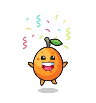 Fröhliches kumquat-maskottchen, das für glückwünsche mit farbkonfetti springt, süßes design für t-shirt, aufkleber, logo-element