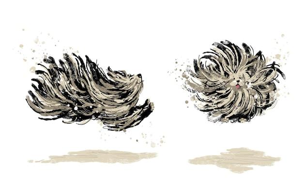 Fröhliches laufen und springen verspielte puli-hund-illustration
