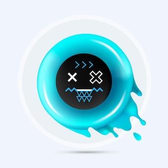 Fröhliches, lustiges, zufriedenes emoji in der mitte. trendige geometrische formen mit dem frischen aqua flüssigen donut lokalisiert auf einem hellen hintergrund.