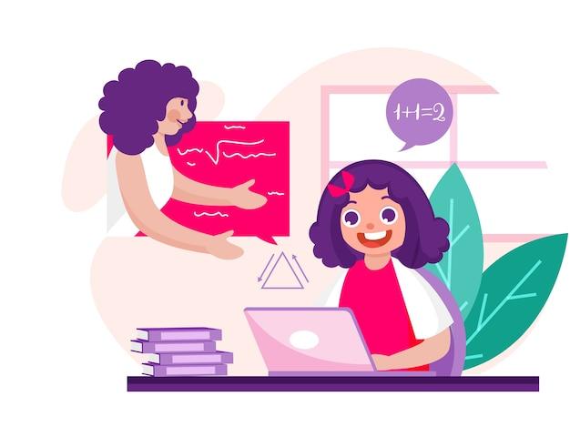 Fröhliches mädchen, das auf videoanruf mit lehrerin zu hause für online-bildungskonzept interagiert. kann als poster verwendet werden.