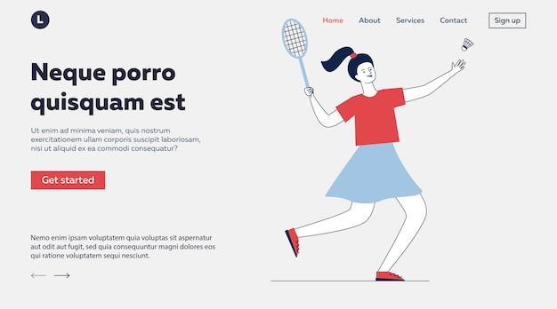 Fröhliches mädchen, das badminton spielt