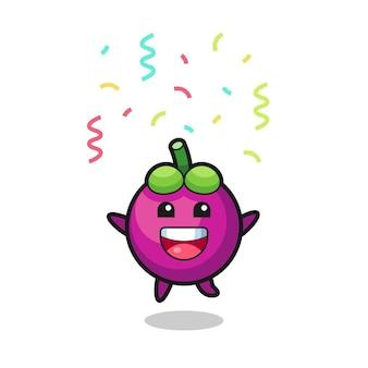 Fröhliches mangostan-maskottchen springt für glückwünsche mit farbkonfetti, süßes design für t-shirt, aufkleber, logo-element
