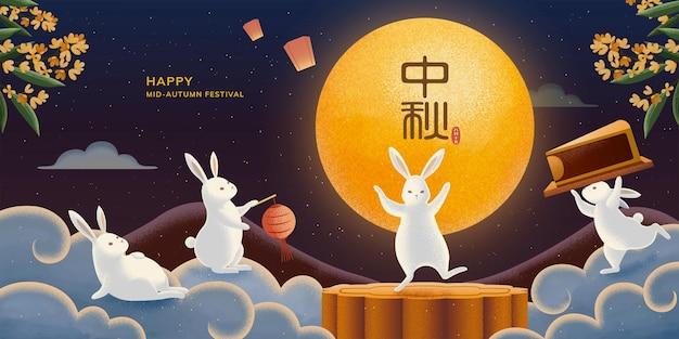Fröhliches mid-herbst-festival-banner mit süßen kaninchen, die mondkuchen und den vollmond in der sternenklaren nacht genießen, feiertagsname in chinesischen schriftzeichen