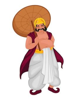 Fröhliches onam festival in kerala. könig mahabali