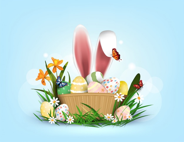 Fröhliches osterelement für design.eggs im grünen gras mit den weißen blumen lokalisiert