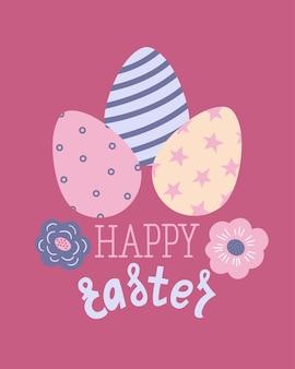Fröhliches osterplakat, druck, grußkarte oder banner mit bemalten eiern, frühlingsblumen und text oder schriftzug. gezeichnete illustration des vektors hand.