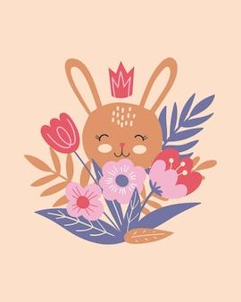 Fröhliches osterplakat, druck, grußkarte oder banner mit süßen hasen oder kaninchen, frühlingsblumen und pflanzen. gezeichnete illustration des vektors hand.