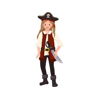 Fröhliches piratenmädchen mit säbel und dreispitz, fröhliches kind im karnevalskostüm, das mit dem schwert festlichen klumpen weht...