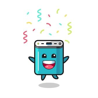 Fröhliches powerbank-maskottchen springen für glückwünsche mit farbkonfetti, süßes design für t-shirt, aufkleber, logo-element
