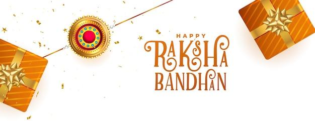 Fröhliches raksha-bandhan-festivalbanner mit geschenkboxen und rakhi-design