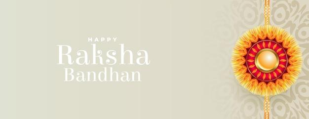 Fröhliches raksha bandhan traditionelles banner mit realistischem rakhi