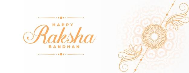 Fröhliches raksha bandhan traditionelles verkaufsbanner mit dekorativem handgezeichnetem rakhi