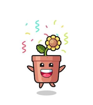 Fröhliches sonnenblumentopf-maskottchen, das für glückwünsche mit farbkonfetti springt, süßes design für t-shirt, aufkleber, logo-element