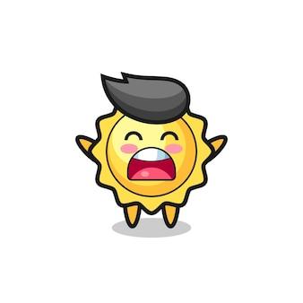 Fröhliches sonnenmaskottchen springt für glückwünsche mit farbkonfetti süßes sonnenmaskottchen mit einem gähnenausdruck, süßes design für t-shirt, aufkleber, logoelement