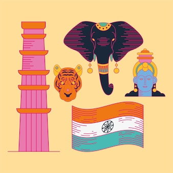 Fröhliches symbol für den unabhängigkeitstag indiens auf gelbem hintergrund