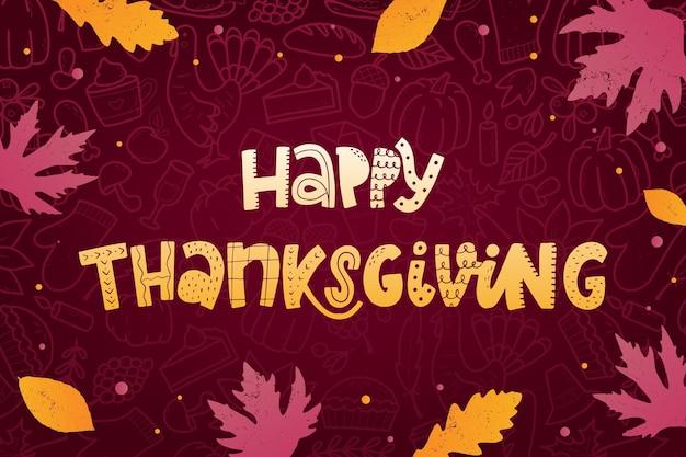 Fröhliches thanksgiving-schriftzug-zitat mit blättern