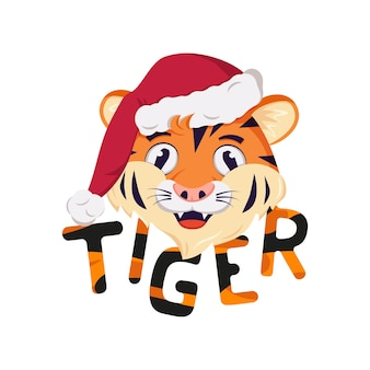 Fröhliches tigersymbol des neuen jahres in roter weihnachtsmannmütze wilde tiere afrikas gesicht mit freudigem em...