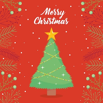 Fröhliches weihnachtsdesign mit weihnachtsbaum und dekorativen zweigen über rotem hintergrund, buntes design