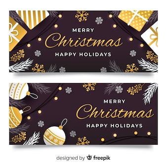Frohe feiertage flache designart der weihnachtsfahnen