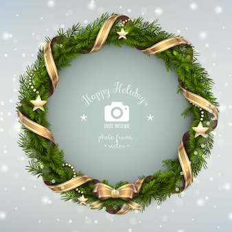 Frohe feiertage fotorahmen weihnachtskranz illustration