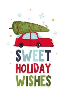 Frohe feiertage frohe weihnachten und ein glückliches neues jahr illustrationen. grußkarte mit rotem retro-auto mit weihnachtsbaum auf dem dach.