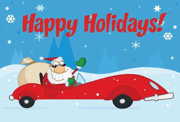 Frohe feiertage gruß mit santa driving in den schnee
