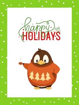Frohe feiertage grußkarte im rahmen und im pinguin
