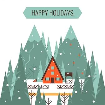 Frohe feiertage grußkarte mit winterurlaubferien und skifahrenkonzept vector illustration.