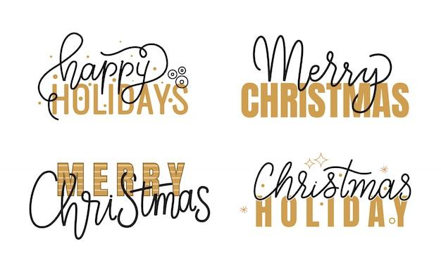 Frohe feiertage, handgeschriebenes gekritzel der frohen weihnachten
