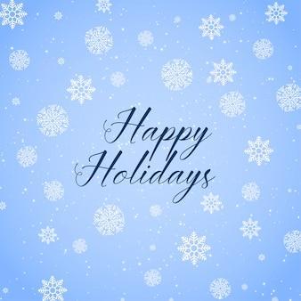 Frohe feiertage hintergrund mit schneeflocken muster