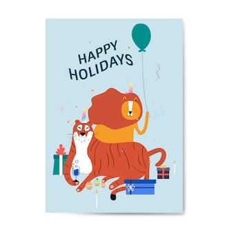 Frohe feiertage postkartenentwurfsvektor