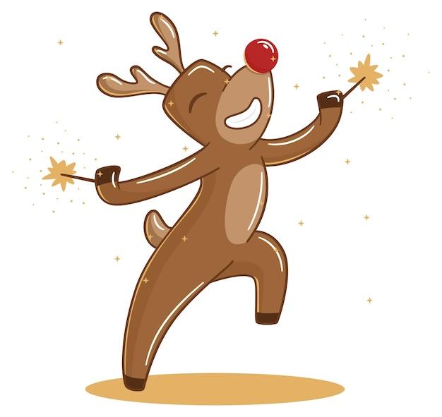 Frohe feiertage rehe tanzen mit wunderkerzen
